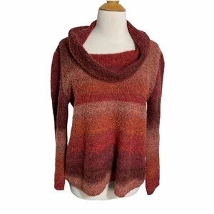 Skye's the Limit M red orange ombré cowl sweater